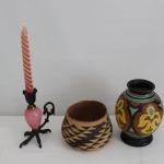 rooster foot candlestick-indian basket-goda vase